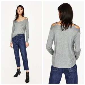Zara | Cut Out V-Neck Sweater